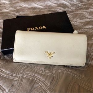 White Prada continental wallet